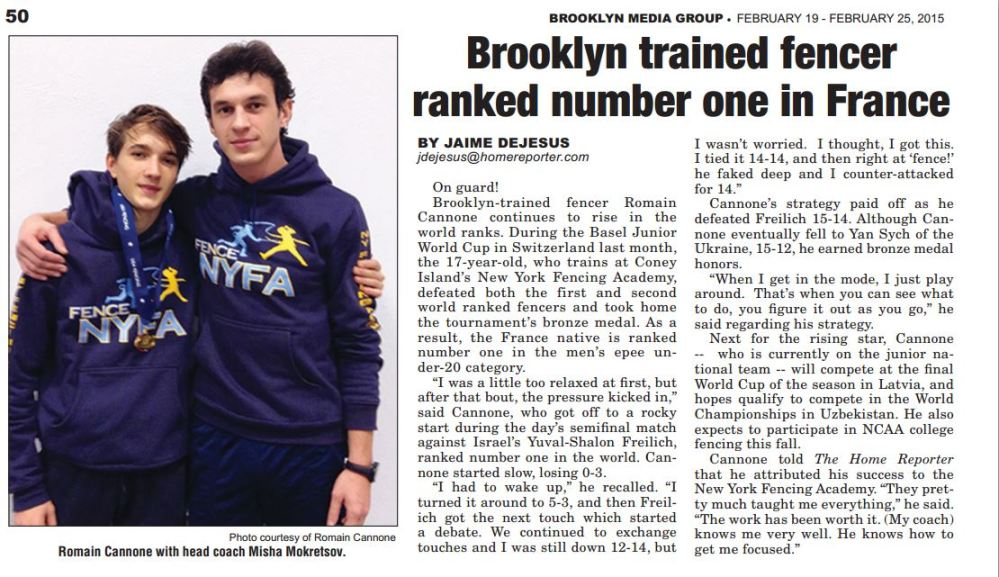 Brooklyn trained fencer ranked number one in France Brooklyn Spectator Feb 2015
