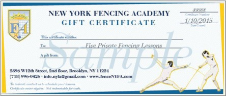 NYFA Fencing Gift Certificates