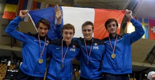 Romain Cannone (left) Team France - Gold, European Junior Championships Maribor Slovenia