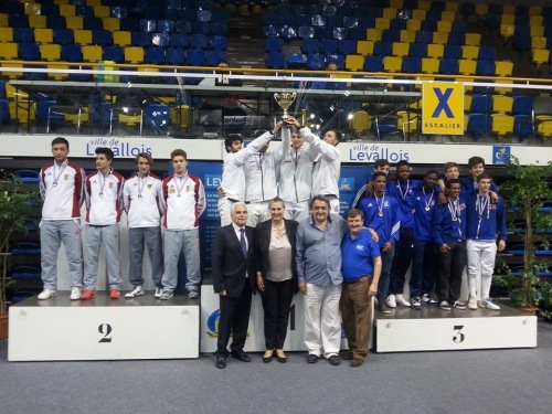 Romain Cannone (3rd from left) - Silver in Teams at Levallois, France