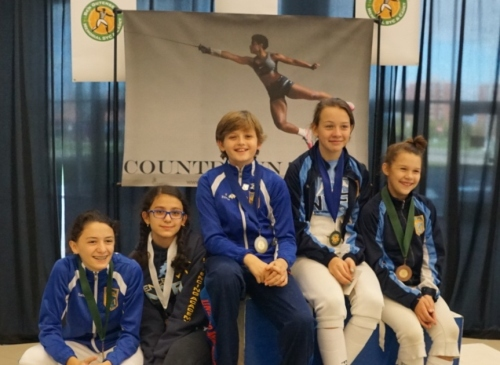 5 of 6 medalists shown: Katherine, Arevik, Ethan, Jaclyn, Caralina at the Ben Gutenberg Memorial SYC (not pictured: Andrew)