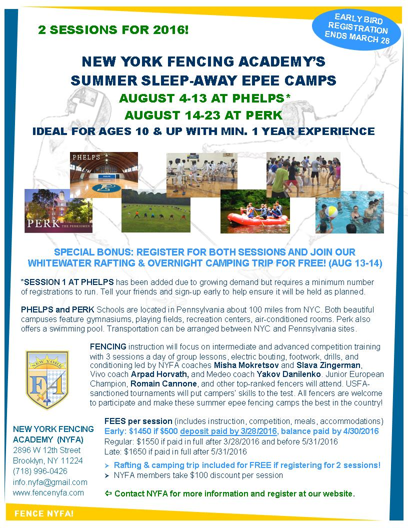 2016 NYFA Summer Sleepaway Camps Phelps Perk Flyer 20160305