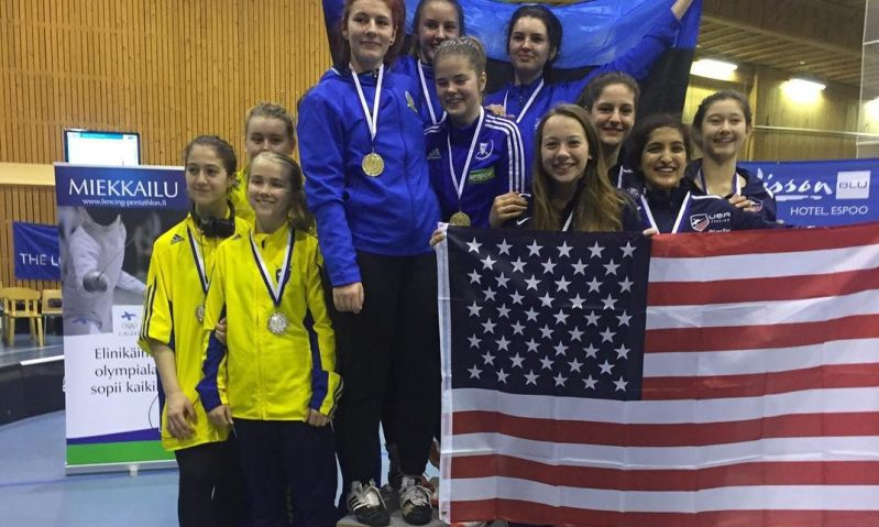 SILVER & BRONZE, 5 NYFA FENCERS ON TEAM USA AT CADET WORLD CUP IN ESPOO, FINLAND