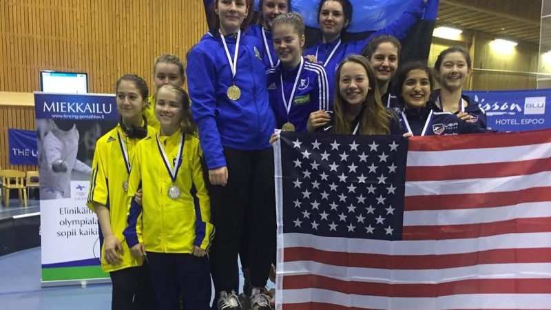 SILVER & BRONZE, 5 NYFA FENCERS ON TEAM USA AT CADET WORLD CUP IN ESPOO,FINLAND