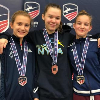 Anna Temiryaev (center) Bronze in Y12 NAC