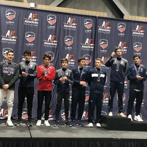 Alan Temiryaev 1st (2nd fr r), Skyler Liverant 5th (4th fr l), Steven Grams 7th (2nd fr l) Juniors Nov NAC 2018