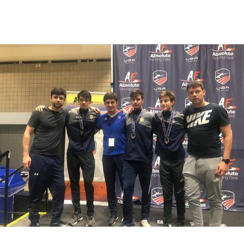 l-r:: Coach Israelian Steven Grams Coach Mokretsov Alan Temiryaev Skyler Liverant Coach Ponomarrenko NYFA Brooklyn Long Island Nov NAC 2018