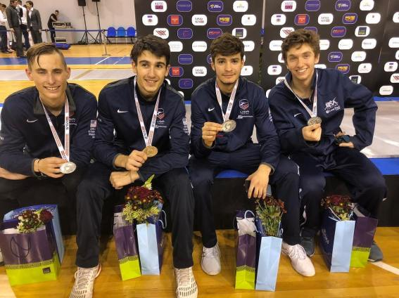 Team USA Silver Alan Temiryaev (2nd from right) Riga Men_s Épée Junior World Cup Nov 2018