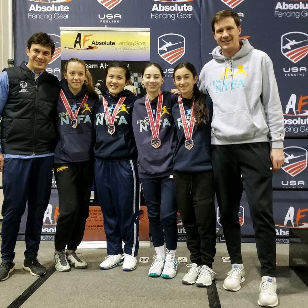 3rd Junior Team Coach Mokretsov Jaclyn Khrol Emily Gao Jordan Liverant Emily Ostrovsky Coach Danilov Junior Olympics 2019