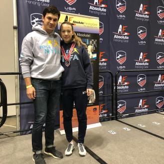 Jaclyn Khrol 3rd Cadets with Coach Mokretsov at Junior Olympics 2019
