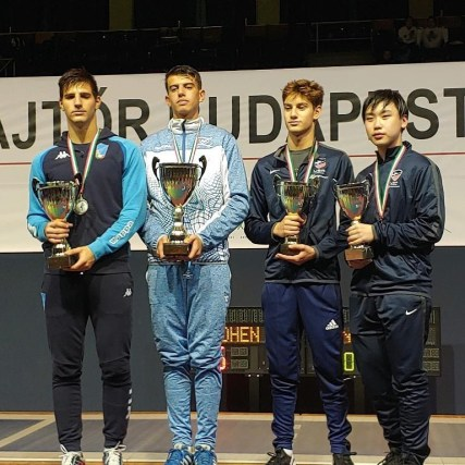 Skyler Liverant 2nd from right Bronze Cadet World Cup Budapest