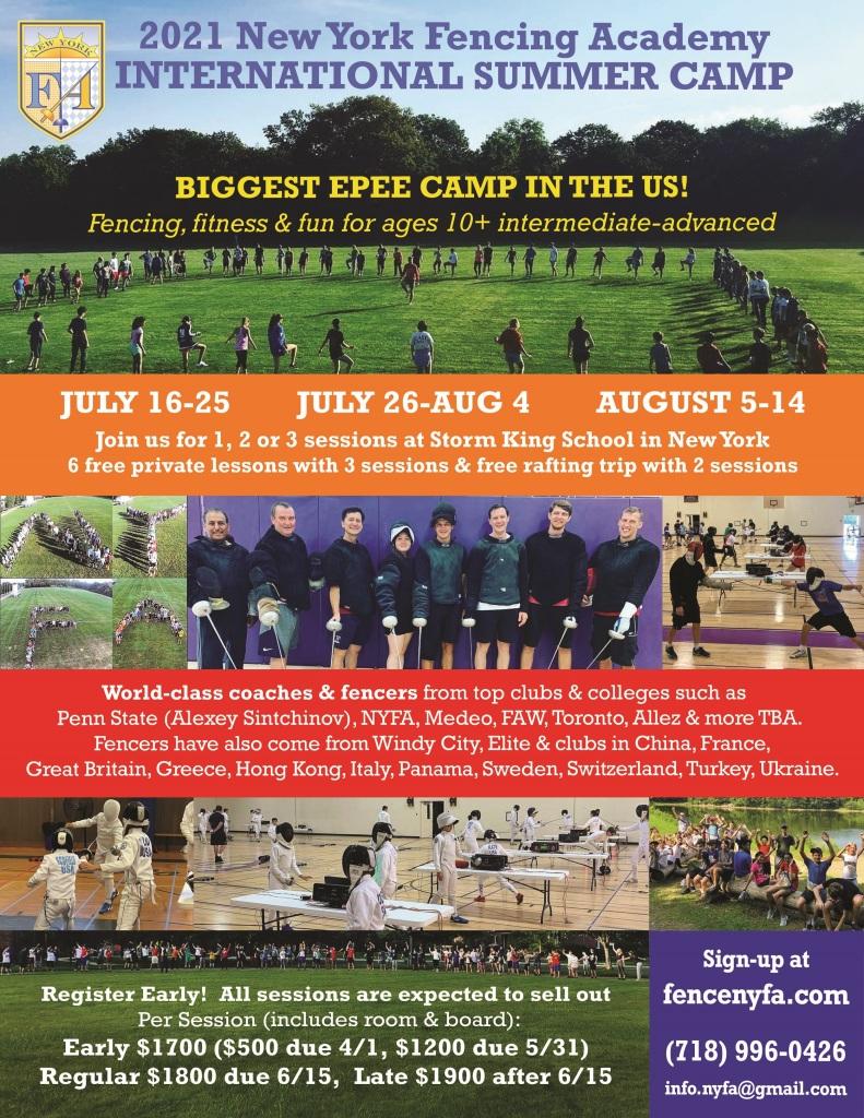 NYFA Summer Sleep away Fencing Camp